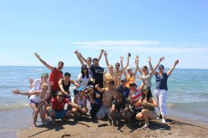 Our magnificent group at the tip of Point Pelee. Photo credit to Hasith!